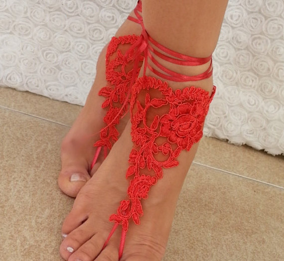 Bridal Anklet Red Beach Wedding Barefoot Sandals Bangle Free Ship