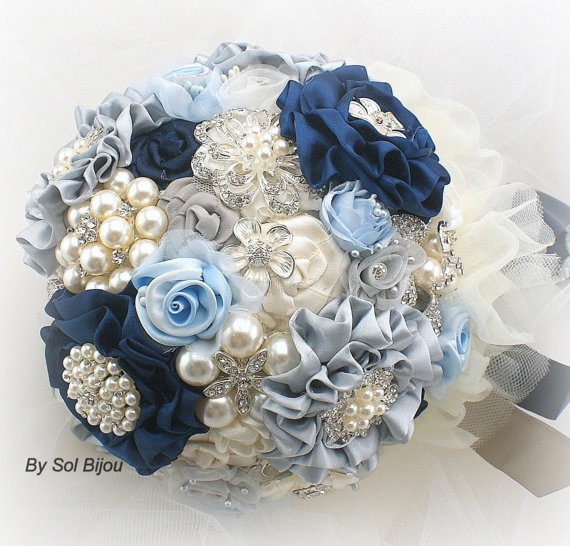 Brooch Bouquet Wedding In Navy Blue Ivory Cream Silver And Powder Light Something