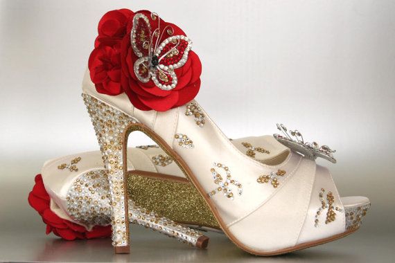 Custom Wedding Shoes Ivory P Toe With Silver Gold Rhinestones Glitter Sole And Red Rhinestone Erflies