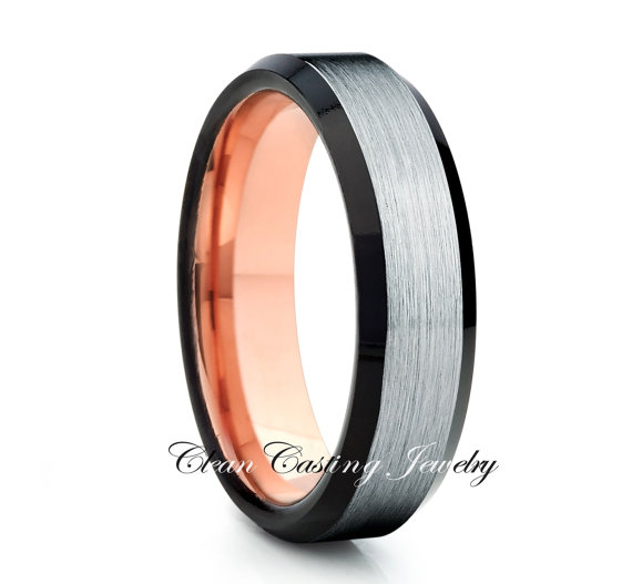 Rose Gold Tungsten Wedding Band Ring Black Anniversary Engagement Comfort Fit Grooms Set