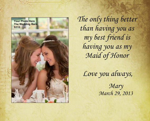 Sisters Wedding Gift Maid Of Honor Matron Bridesmaid Personalized Picture Frame Pas The Bride Sisterss112