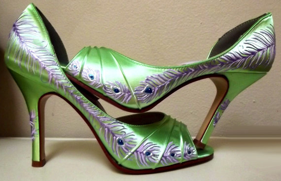 Bride Pea Feather Shoes Heels Lime Green P Toe Wedding Citronade Beverly