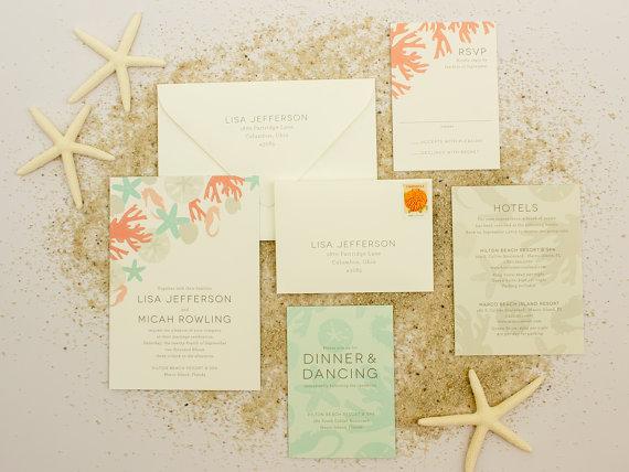 Beach Wedding Invitations Destination Invite Casual With Sea Shells Sand Dollar Invitation Sample