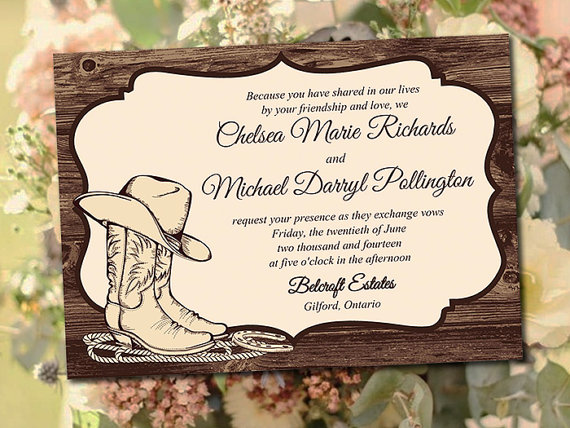 Printable Wedding Invitation Template Country Western Diy Instant