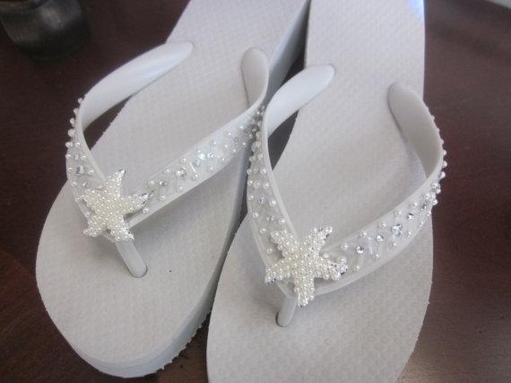 Bridal Flip Flops Wedding White Beach Starfish Destination Accessories Bridesmaids Shoes