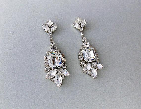 Wedding Earrings Chandelier Gatsby Vintage Style Swarovski Crystals Art Deco Bridal Dianna