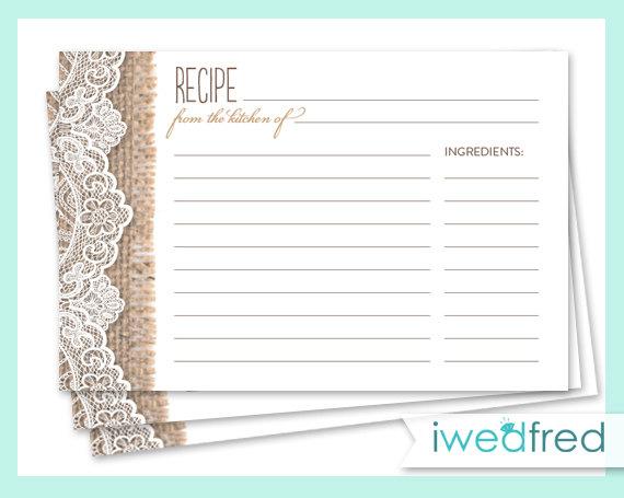 Burlap Lace Bridal Shower Recipe Cards