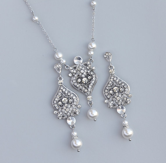 Pearl Bridal Set Vintage Wedding Jewelry Ivory Earrings Necklace Crystal And Bridesmaids Lucy Rp