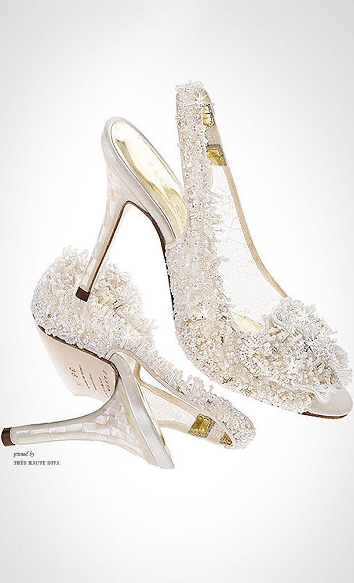 Freya Rose Showcases The Snowqueen Couture Wedding Shoe With Mother Of Pearl Heels And Hand Embroidered Swarovski Crys