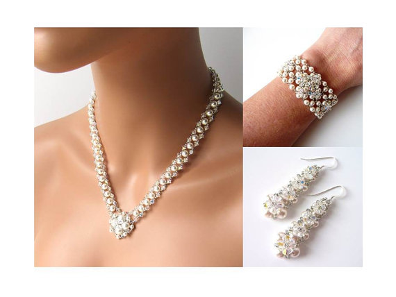 Unique Bridal Jewelry Set White Or Ivory Pearl Wedding Crystal V Necklace Beaded Statement