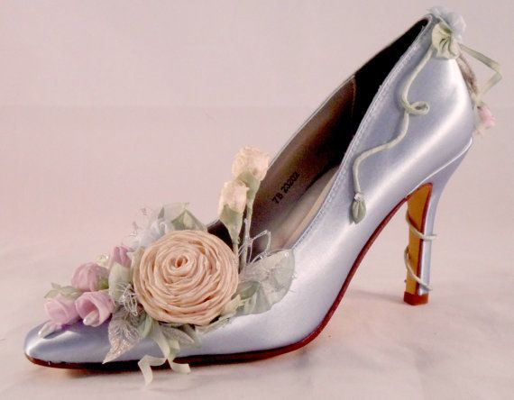 Blue Fairy Princess Silver And Rosebud Bridal Heel Couture Shoe Fairytale Wedding Shoes Garden Faerie