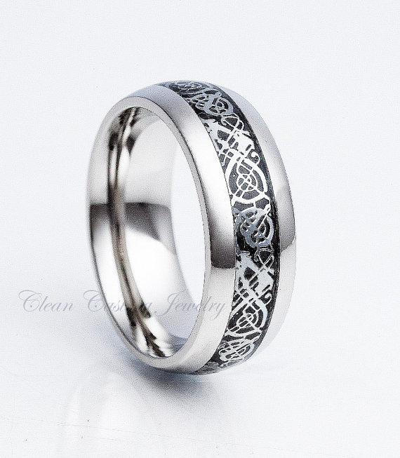 Anium Wedding Band Ring Dome Dragon Celtic High Polish Mens Engagement Anniversary 8mm
