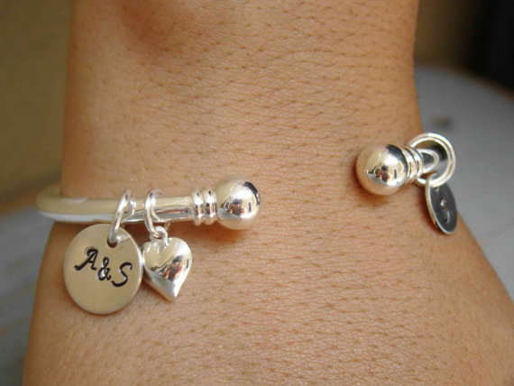 Personalized Wedding Gift For Bride Silver Initial Cuff Anniversary Her Sterling Jewelry