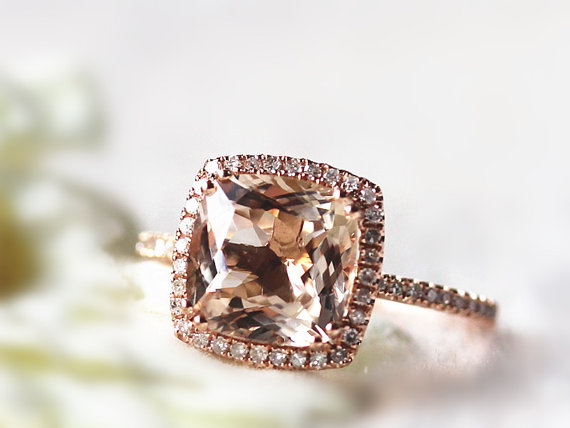 14K Rose Gold 9X9mm Cushion Cut Morganite Ring Diamond Halo Ring