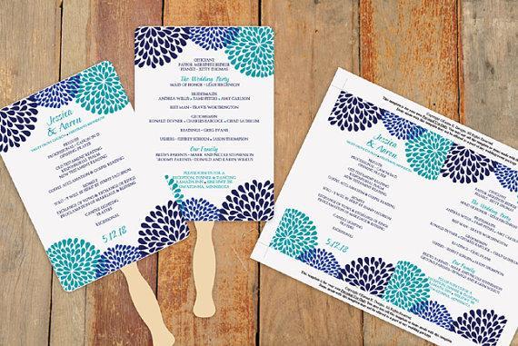 Diy Wedding Program Fan Template Instantly Editable Text Chrysanthemum Navy Blue Teal 5 X 7 Microsoft Word Format