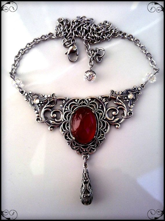 Victorian Gothic Necklace Carnelian Agate Silver Filigree Jewelry