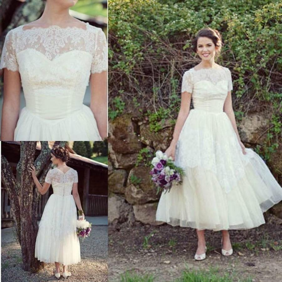 Spring Short Beach Lace Wedding Dresses Plus Size With Sleeves A Line Modest Ankle Length Y Formal Bridal Ball Gowns Online