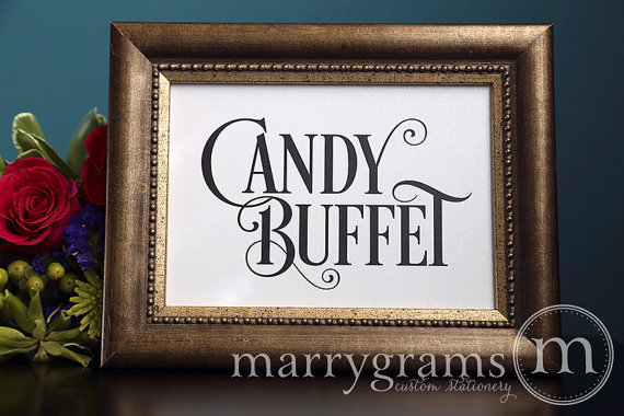 Wedding Candy Buffet Sign Bar Dessert Station Table Reception Seating Signage Matching Numbers Available Ss06