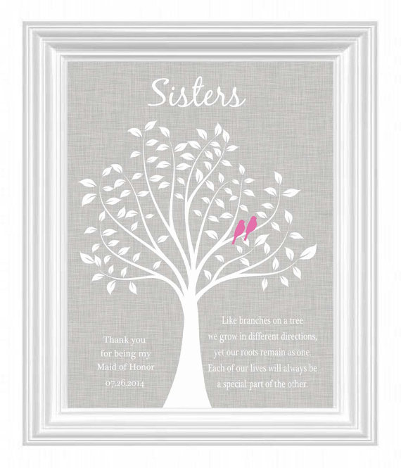 Sisters Personalized Gift Maid Of Honor Wedding For Sister Bridesmaid Best Friend Print Words And Colors Can Be Customized