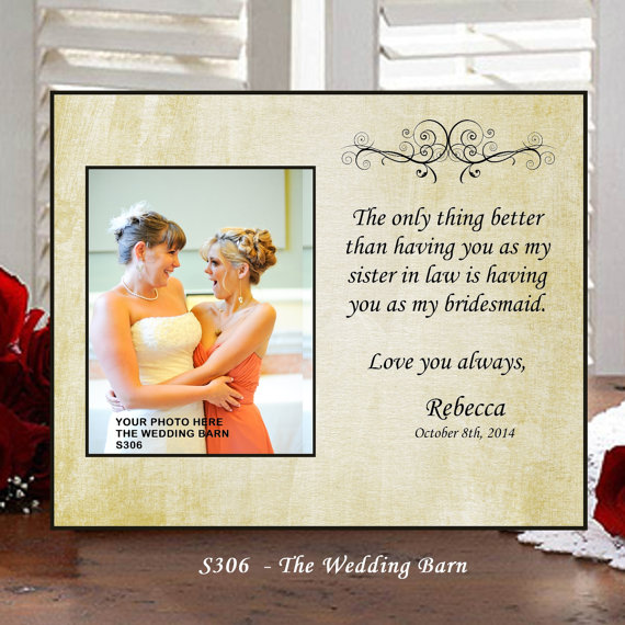 Sisters Wedding Gift Maid Of Honor Matron Bridesmaid Personalized Picture Frame Pas The Bride Sisterss306