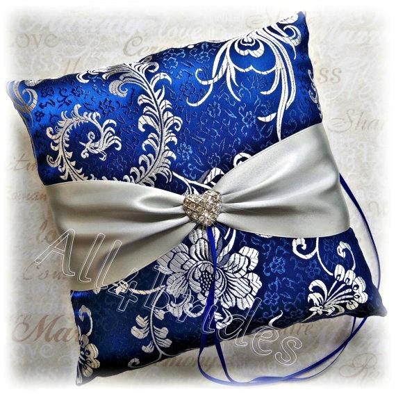 Royal Blue And Silver Wedding Ring Pillow Grey Bearer Cushion