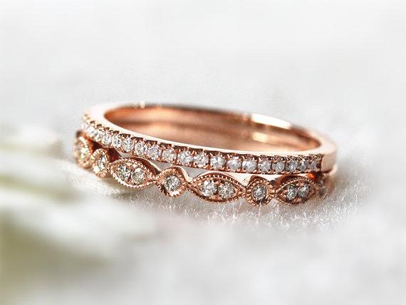 14K Rose Gold Ring Set Stacking Ring Stackable Band Diamond
