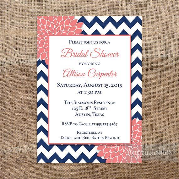 Famous Navy & Coral Bridal Shower Invitation, Printable Navy Blue Chevron  KH86