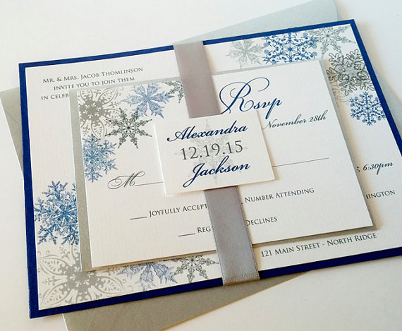 Lacy Snowflake Formal Wedding Invitation Suite Ribbon And Tag Silver Shire Royal Blue Winter Physical Sample Only