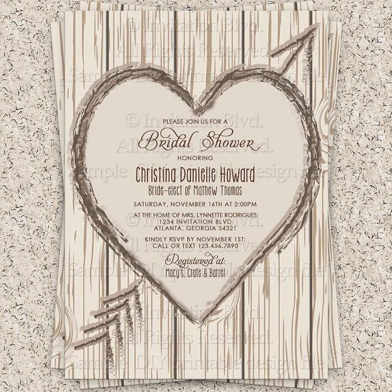 Bridal Shower Invitation Rustic Wooden Heart Printable