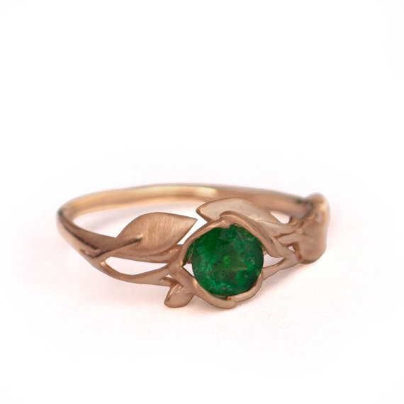Leaves Engagement Ring 18K Rose Gold And Emerald Engagement Ring
