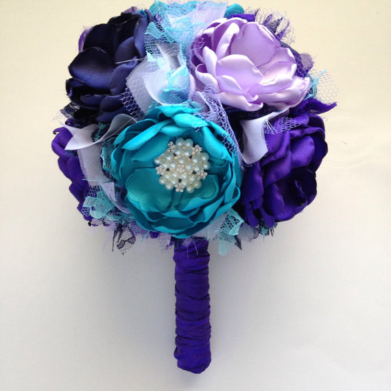 Large Bouquet Royal Purple Lavender Teal And Navy Blue Heirloom Colorful Fabric Keepsake