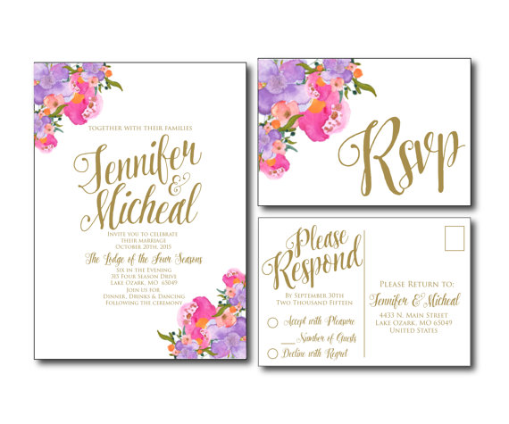 Fl Wedding Invitation Printable Rsvp Postcard Card