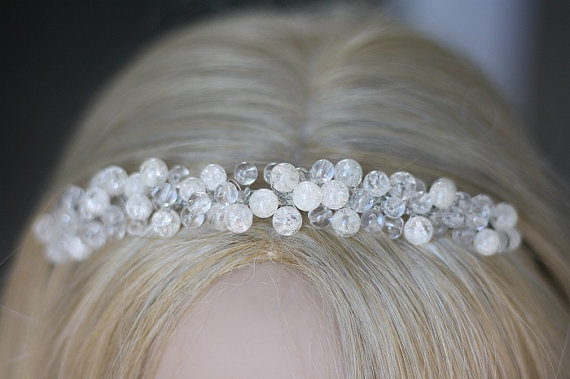 Wedding Hair Accessories Bridal Headpiece Tiara Crystal Headband Wire Wred Band Crown Clear Quartz