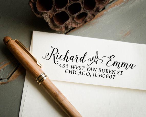 Self Inking Stamp Return Address Custom Personalized Housewarming Gift Wedding Invitation