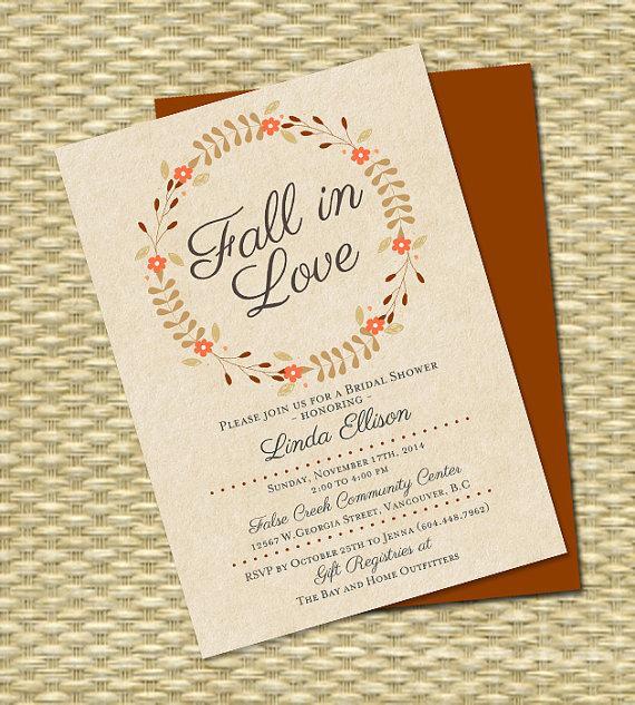 Fall In Love Bridal Shower Invitation Wreath Autumn Any Color Scheme Event