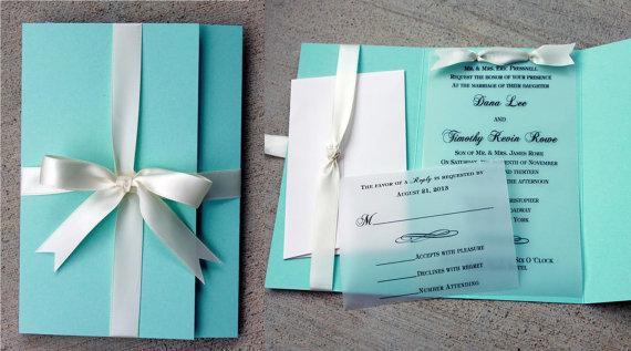 Blue Wedding Invitation With White Ribbon Turquoise And Vellum Turqouise