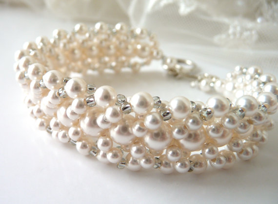 Pearl Bridal Bracelet White Or Ivory Jewelry Cuff Wedding Mother Of The Bride Beaded Swarovski