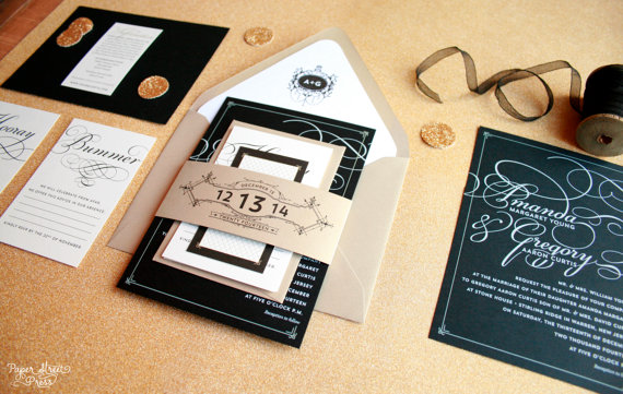 Black And Gold Vintage Modern Wedding Invitations Glam Scrip Invitation Set Layered Package With Belly Bands