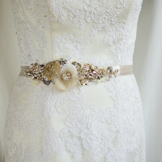 Bridal Belt Sash Rustic Gold Fl Champagne Wedding Dress Br Oatmeal Narrow Vintage Antiqued Woodland