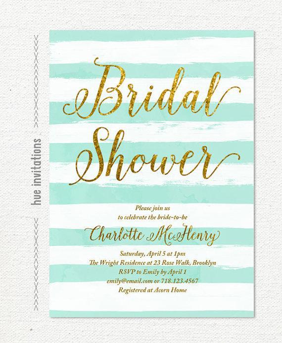 Turquoise Blue Bridal Shower Invitation Stripes Gold Glitter Invite Modern Digital 5x7 116