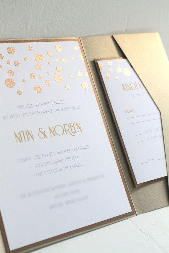 Glamourous Gold Confetti Custom Pocketfold Invitation Sets Wedding Invitations Shimmer Sparkle Etsy Weddings
