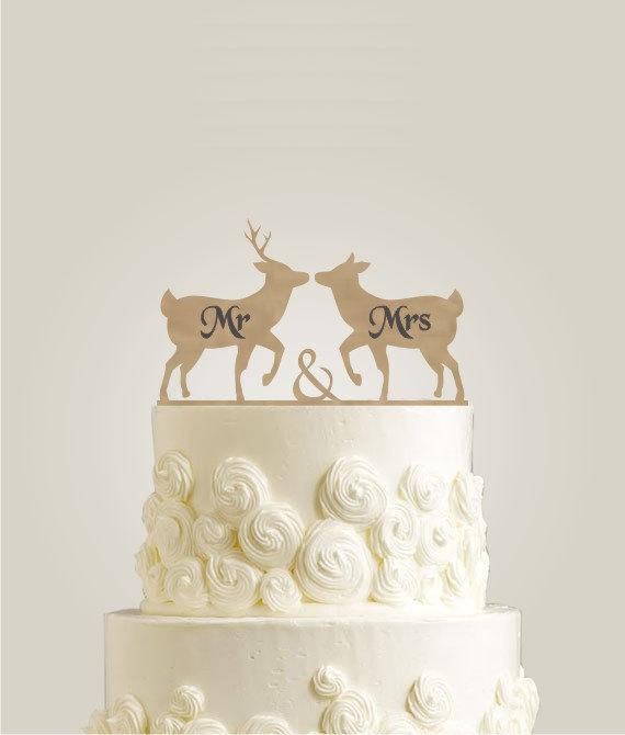 Laser Cut Engraved Cake Topper For Weddings Mr Mrs Wedding Deer Wooden Rustic
