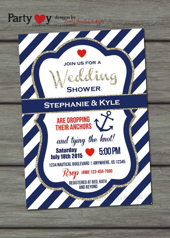 Nautical Wedding Shower Invitation Navy And Gold Glitter Glam Tying The Knot Coed