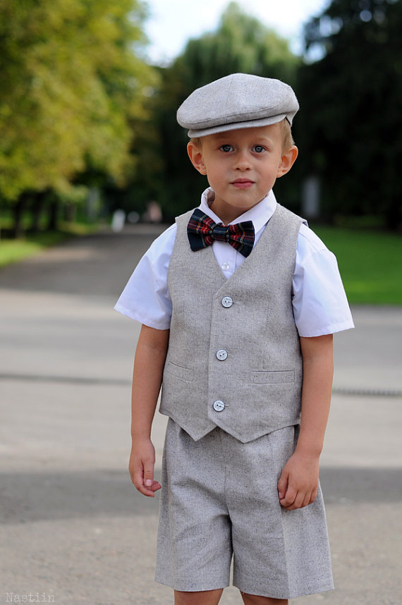 Toddler Ring Bearer Outfit Baby Boy Dress Clothes Grey Hat Vest And Shorts Wedding Attire First Birthday Photo Prop Gifts For Boys
