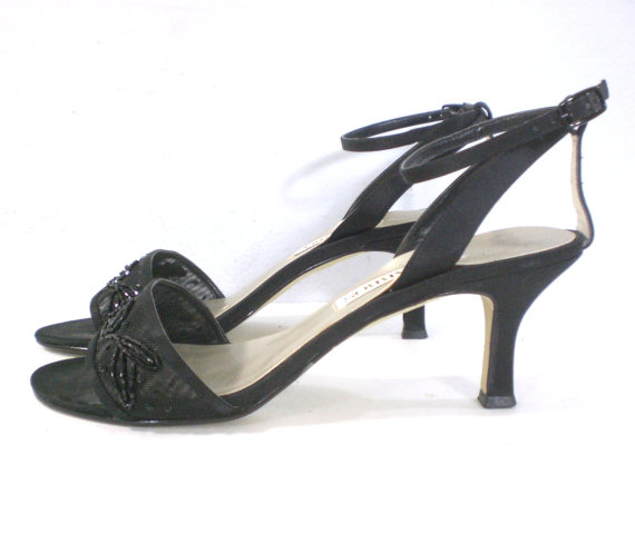 Vintage 90s Shoes Dressy Sandals Heeled Occasion Black Caparros Beaded Wedding Prom 8 M