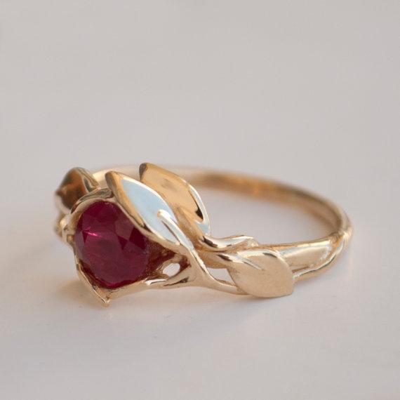 Leaves Engagement Ring 14k Gold And Ruby Leaf Filigree Antique Art Nouveau Vintage