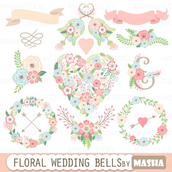 Fl Wedding Clipart Bells With Heart Flower Wreaths Ribbons Bouquets For Invitations