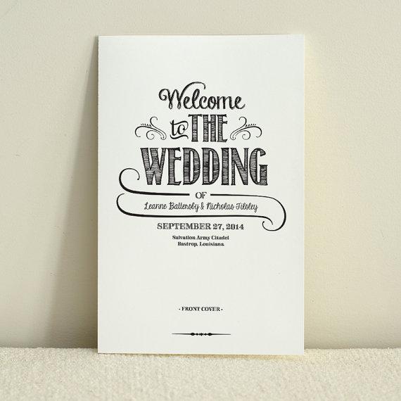 Diy Wedding Program Order Of Service Handlettered Rustic Love Printable Pdf Template Instant