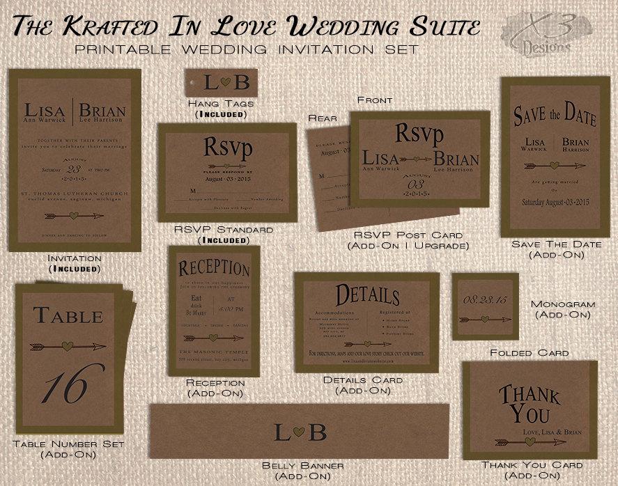 Rustic Wedding Invitation Set Printable Olive Green Kraft Fall