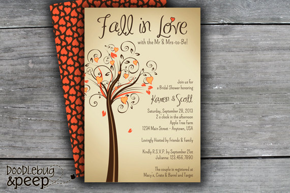 Fall In Love Bridal Shower Invitation Digital File